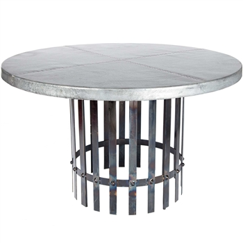Ashton Iron Dining Table With 54 Quot Round Hammered Zinc Top