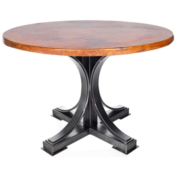 Winston Iron Dining Table With 48 In Round Hammered