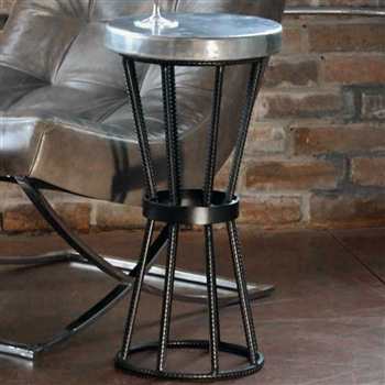 Axel Iron Accent Table With Round Hammered Zinc Top