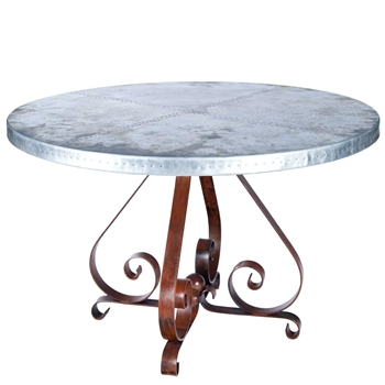 Pierre Iron Dining Table With 54 Quot Round Hammered Zinc Top