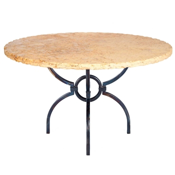 Logan Iron Dining Table With 54 Quot Round Marble Top