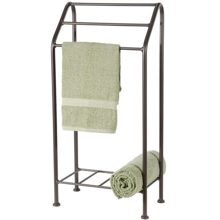 Wrought iron towel rack free standing monticello towel rack - Free standing bathroom towel rack ...