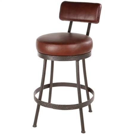 Cedarvale Wrought Iron Counter Stool With Backrest Stone