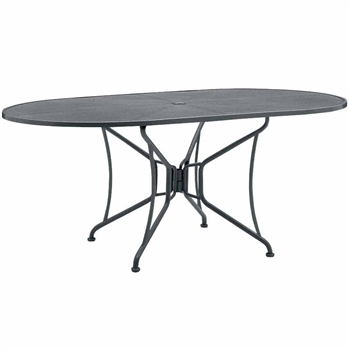 oval patio dining table with umbrella hole 42 x 72 mesh top